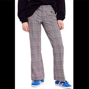 NWT Free People Plaid Flare Pants